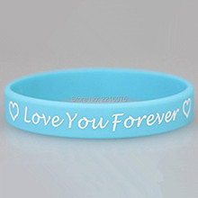 300pcs Custom love you forever silicone wristband rubber bracelets free shipping by DHL express(China)