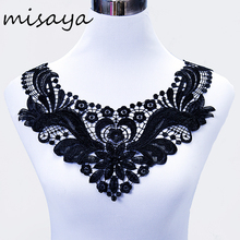 Misaya 1pc Milk Silk Embroidered Lace Trim Neckline Fabric Lace Ribbon,Wedding Dress Collar Lace For Sewing Supplies Crafts(China)