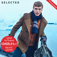 SELECTED Brand NEW men fashion high quality WOOL Jacket Coat male casual Outerwear Woolen cloth 415427032(China)