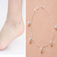 2017 New Arrival Charm Silver Plated Chain Bell Anklets for Women Ankle Bracelet Chain Crystal Foot Jewelry