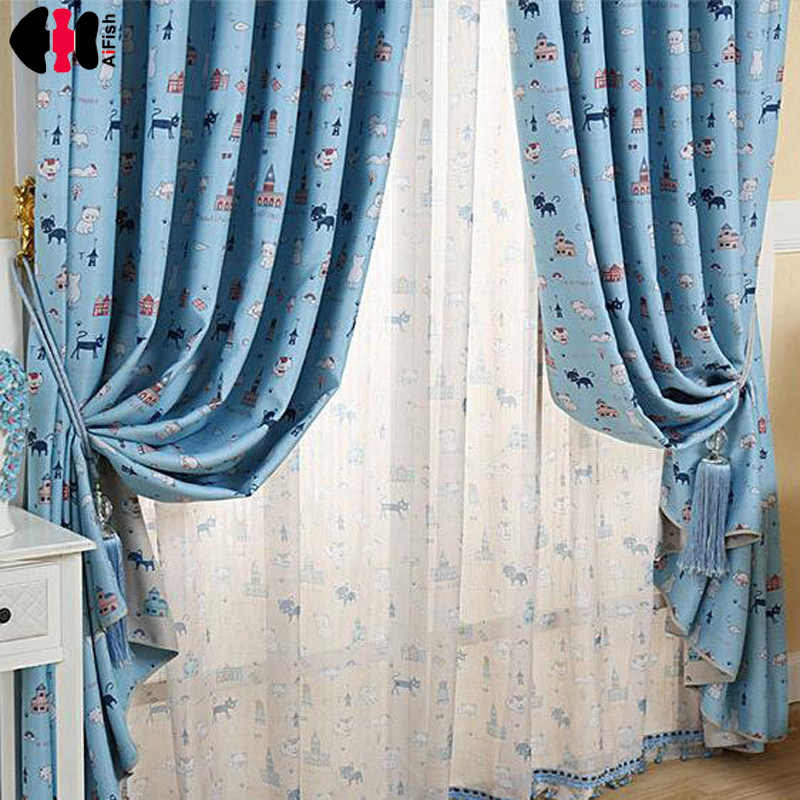 Cat Printed Curtains for kids blackout curtains Blue Coffee Drapes Voile Kids Curtains for Children Living Room Bedroom WP235C