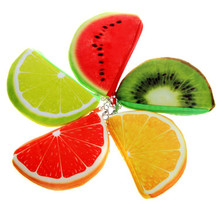 fashion orange watermelons semicircle Wallets 3D ladies purse soft printing fruit bags children clothes pouch for kids gift