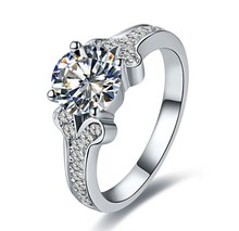 Solid 14K Brand Name Jewelry Ring for Women Famous Design Gallant Brilliant 1CT Female Anniversary Ring for Your Girl