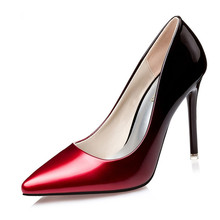 Plus size 34-41 Women pumps Fashion gradient color High heels shoes Spring Summer patent leather wedding shoes woman high heels