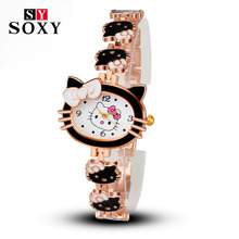 2017 New Brand Hello Kitty Cartoon Watches Women Children Dress Quartz Wristwatch Kids Hellokitty Girls Montre Enfant - GiftWatch Store store