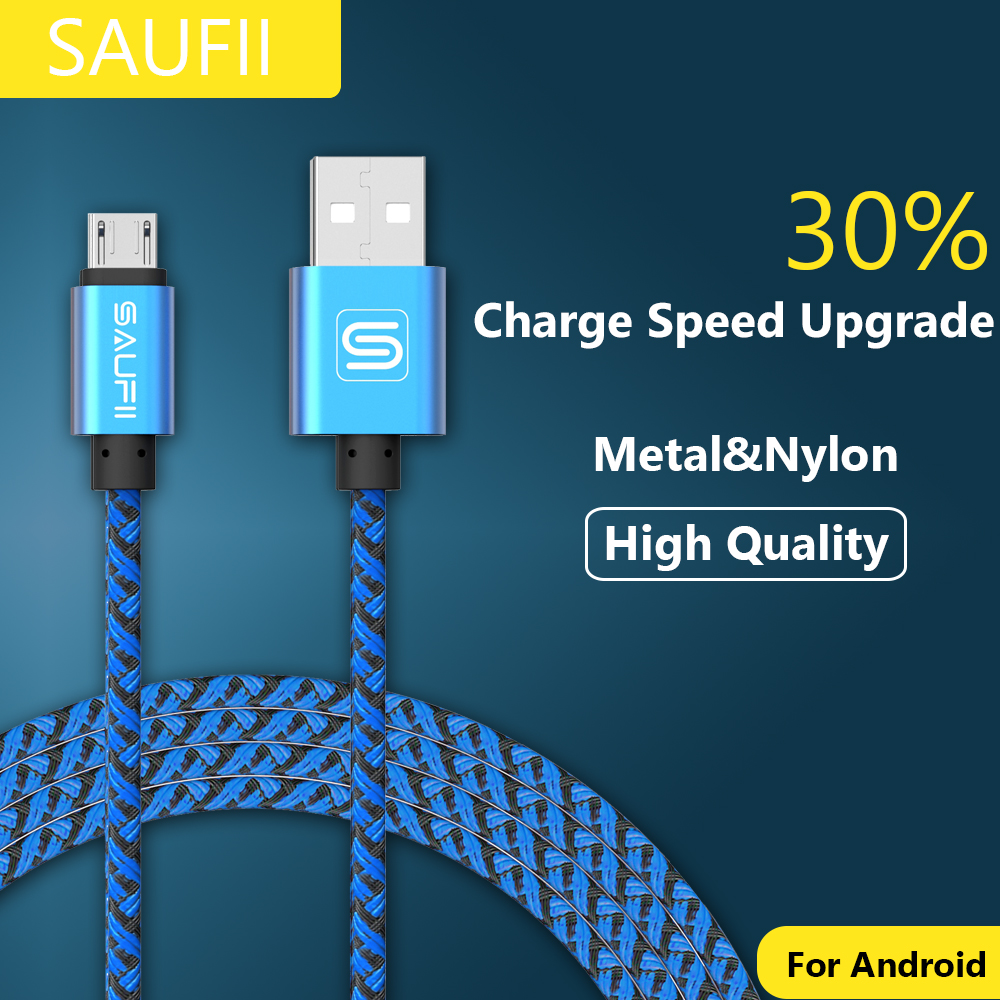 SAUFII 2A Metal Braided nylon micro usb cable Charger data sync usb charging cable cord samsung galaxy xiaomi cell phones