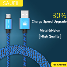 SAUFII 2A Metal Braided nylon micro usb cable Charger data sync usb charging cable cord for samsung galaxy xiaomi cell phones(China)