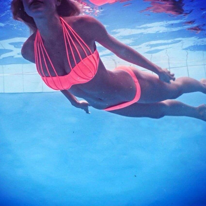 Orange Halter Strappy Bra Push Up Bikini Two Piece Swimsuit Brazilian Sexy Biquini Swimwear Bathing SUITS<br><br>Aliexpress