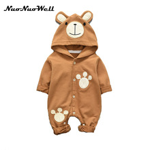 NNW 0-2 years 2017 autumn infant baby lovely rompers  Cartoon hooded long sleeved jumpsuit  Children's rompers Cute bebe clothes
