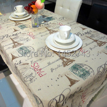 New Arrival  Cotton & Linen Paris Eiffel Tower Style Table Cloth Dining Table Linen Table Decoration Factory Direct Sale