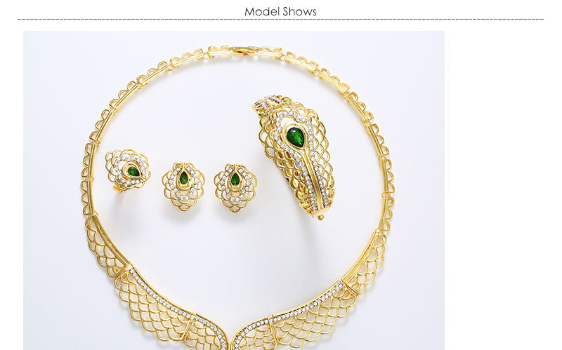 AYAYOO Bridal Jewelry Sets Crystal African Beads Jewelry Set in Gold Color Fashion Jewellery Women Wedding Necklace Set (1)