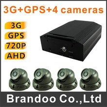 Whole kit, 4CH 720P 3G DVR+4 AHD IR car camera, for bus,shuttle bus, school bus, truck used(China)