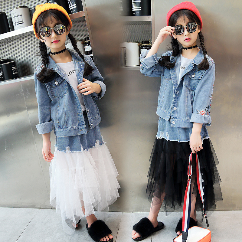 Autumn New Pattern Girl Child Cowboy Embroidery Loose Coat Gauze Cowboy Skirt Two Pieces Kids Clothing Hot<br>