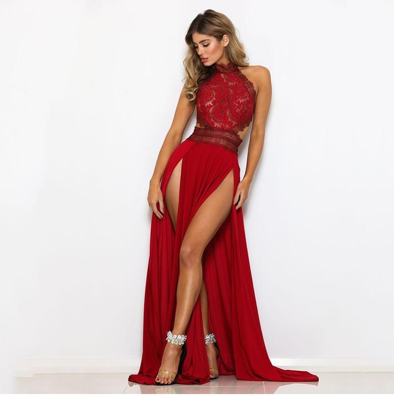GACVGA Sexy Women Sleeveless Summer Dress Halter Neck Lace Crochet Evening Maxi Long Dress Backless Party Dresses Vestido 9