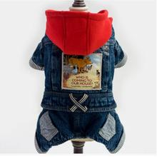 Fashion Pets Hoodie Jean Jumpsuit Denim Jacket Coats Short Romper Costume For Pet Dog Puppy four legs in pet dog clothing winter