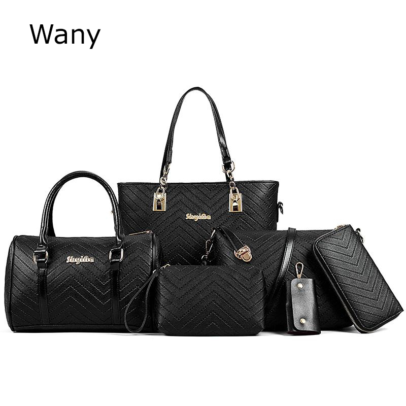 Women handbags 6 pcs/set Embossing Composite bags womens handbag fashion Leather shoulder bag cross-body handbag messenger bags<br>