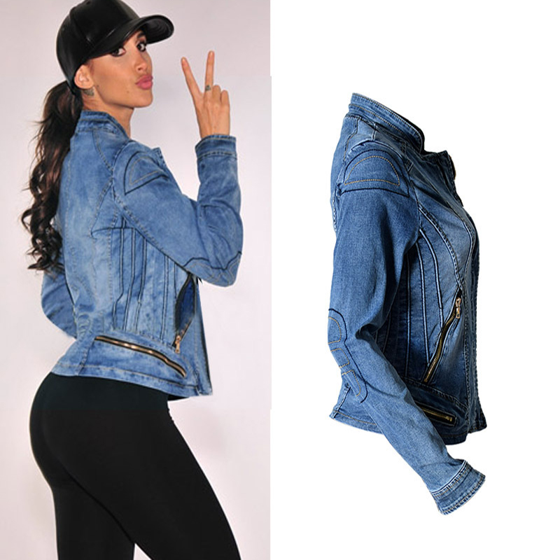 2017 New Hot Sale Popular Women Baseball Jackets Stretch Denim Jacket Multi-zipper Short Motor Style Chaqueta Female Denim Coats (4)