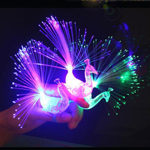 Novelty Design Colorful Light Peacock LED Light-up Finger Toys Best Christmas Halloween Party Gifts(China)