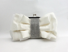 Cream Ladies' Satin Rhinestone Wedding Evening Bag Clutch handbag Bride Party Purse Makeup Bag Free Shipping 03883-G