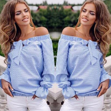 Buy Lady Clothes Shoulder Bandage Loose Casual Summer Tops Shirt New Fashion Women Clothing Ladies Strip Long Sleeve for $5.44 in AliExpress store