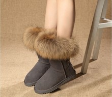 Winter Shoes For Women Real Fox Fur Snow Boots Ladies Elegant  Knee high 100% Genuine Leather Snow Boots Winter Boots