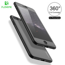 FLOVEME Case For iPhone 6 iPhone 5 5S SE 360 Degree Case For iPhone 7 6 6S Plus Hard Cases For iPhone 6 6S 7 Free Tempered Glass(China)