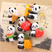 6 Chong Meng Panda fruit version of the cartoon creative three - dimensional magnetic deduction refrigerator household accessori