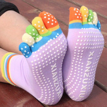 2018 New Sports Colorful Professional Yoga Socks Fitness Cotton Toe Socks Women Pilates Sock Non-slip Dance Pilates Sox ladies(China)