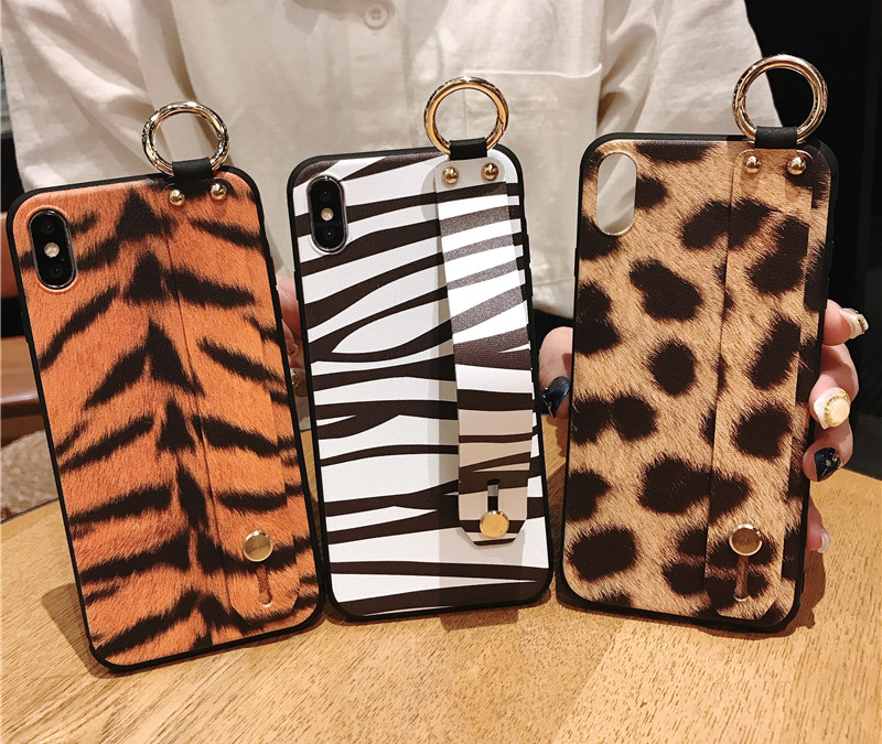 1 SoCouple Wrist Strap Phone Case For iphone X Xs max XR 6 6s 7 8 plus Leopard Print Tiger Skin Zebra Pattern Soft TPU Holder Case
