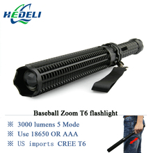 lanterna powerful telescoping led cree xml t6 flashlight tactical torch baton flash light self defense 18650 OR AAA 3000 lumens(China)