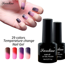 Saroline Soak Off Gel Polish The Colors 7ml Temperature Changing Color LED UV Thermo Mood Change Lucky UV Gel Nail Polish(China)
