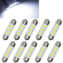 10PCS 31mm 36mm 39mm 41mm 12V C5W Cold White 3 SMD LED Festoon Interior Dome Light Lamp Bulb For Carng