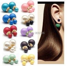 1pair Hot Celebrity Runway Double Pearl Beads Plug Earrings Ear Studs Pin Fashion Women Cute Jewelry Free Ship