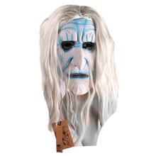 White Long Hair Full Head Cosplay Scary Ghost latex Mask Horror Masquerade Adult Ghost Mask Halloween Props Costumes Fancy Dress