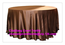 "Factory Direct Sale 10pcs #42 Chocolate Brown 120"" Round Satin Table Cloth ,Satin Table Cloth For Wedding Event Decoration(China)"