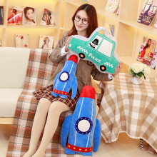 Cartoon Embroidered Car Aircraft Rocket Shape Pillow Sofa Cushion Nursery Toy Children Plane Plush Doll Pillow Boy Birthday Gift