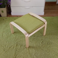 Comfortable Wooden Stool Ottoman Footstool With Linen Fabric Cushion Seat Living Room Furniture Plywood Small Wood Footstool