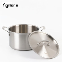 Agniers 24cm Stainless steel Stock Pot with steel cover Multi-Ply Clad Soup Pot with lid(China)