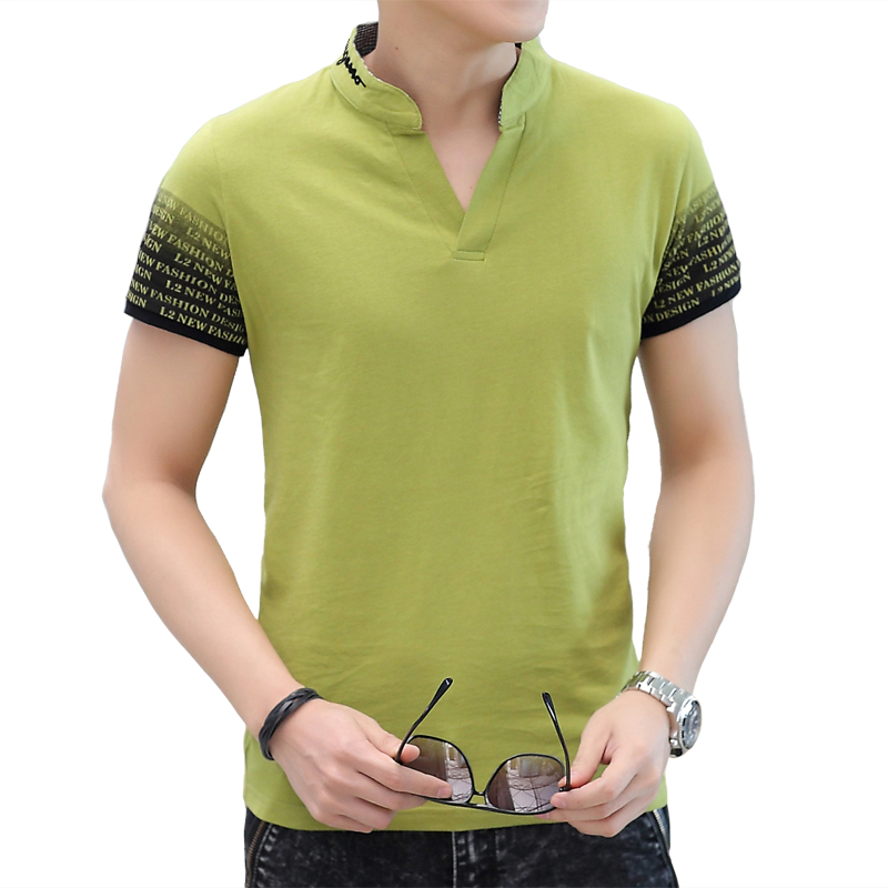 Short Sleeved T-shirt Men's Summer Clothes T-shirt Shirt T-shirt Dress Color Male Kd Polo Shirt Collar V 2016 Summer Style Tees(China (Mainland))
