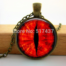 2015 New Round Glass Necklace Red Dragon Cat Eye Necklace Fantasy Picture Photo Art Handmade Jewelry Glass Photo Necklace