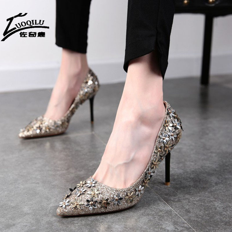 2017 Sexy Shoes Women High Heels Pumps Womens Shoes Heels Stiletto Gold Wedding Shoes Woman Bride italian zapatos mujer<br><br>Aliexpress