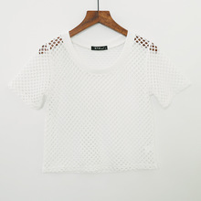 Chicanary Mesh Grid Crop Tops Women Hollow Out T-shirts Short Sleeve Sexy Lace Holes Tees