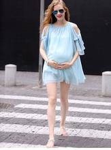 Hot Sale Maternity dresses 2016 women Dress Summer chiffon pregnant women dress pregnant women clothing(China)