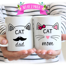 Cat Mom, Cat Dad mugs milk cup wine beer cups friend gifts Coffee Cup home decal novelty porcelain mugs