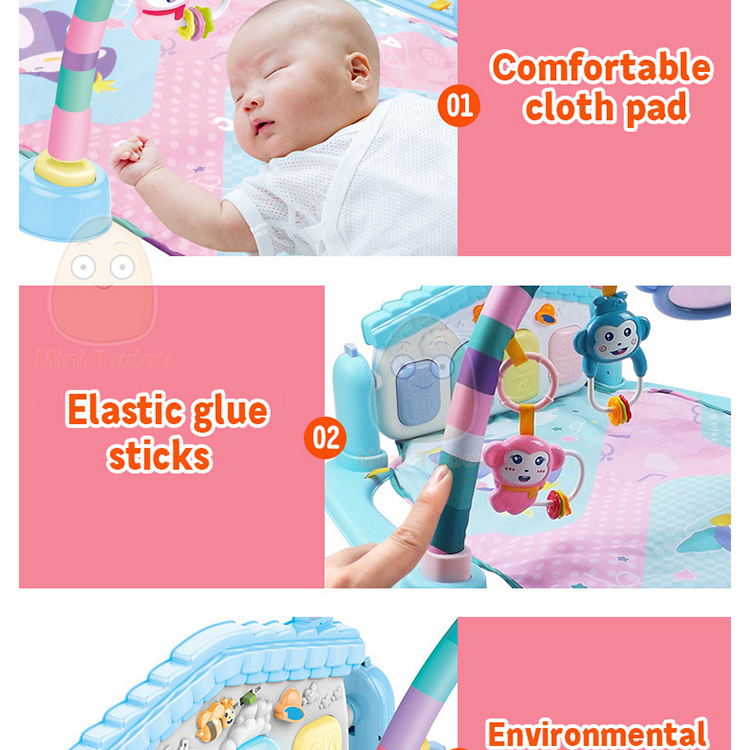 MiniTudou Baby Activity Play Mat Baby Gym Educational Fitness Frame Multi-bracket Baby Toys 0-12 Months Game Mats For Kids 10