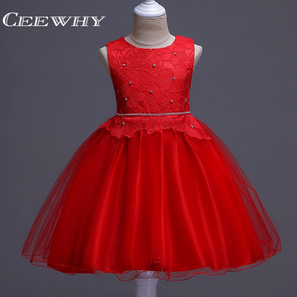 CEEWHY Crystal Beading Ball Gown Prom Dresses for Girls Sweety Flower Girl Dress Robe de Mariee Courte Communion Dress