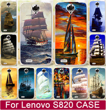 1Pcs Top Quality Painting Smooth Sailing Ship Pirate Ship PC Painted Cases For Lenovo S820 820 Phone Case Cover Shell Capa Hood