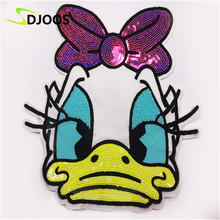 Donald Duck Embroidered Patches for Clothing Biker Motorcycle Cartoon Sequined Iron on Patches for Clothes Tops Jeans Jackets