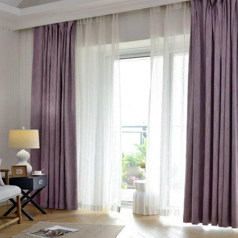 Modern Style Series/purple Pink Thickening Insulating White Gauze Curtain  Sitting Room Bedroom Window Curtain