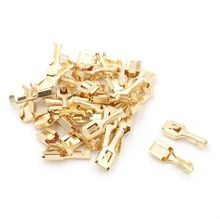 Quick Disconnect 6.3mm Brass Crimp Terminal Cable Female Spade Connector 50PCS